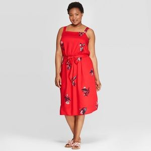 Plus Size - Floral Print Square Neck Dress 👗